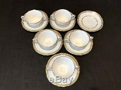 Spode Sheffield 5 Footed Bouillon Cup & 6 Saucers R3359/R3361 England Gold White