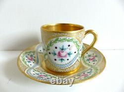 Superb French Limoges Handpainted Gilded Porcelain Cup & Saucer Artist Signed #3