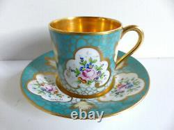 Superb French Limoges Handpainted Gilded Porcelain Cup & Saucer Artist Signed #7