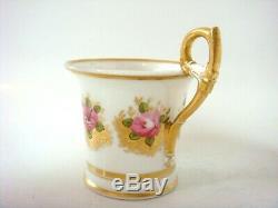 Swansea Porcelain Billingsley Roses Decorated Fine Cabinet Cup & Saucer C1820