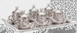 TURKISH COFFEE SET Tulip Mugs Porcelain Cups Sugar Bowl Wavy RectangleTray