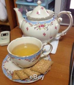 Tea Set Vintage China Cup Teapot Coffee Saucers Set Porcelain 11 Piece Design
