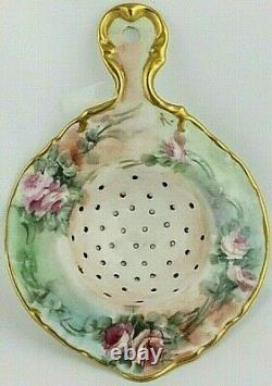 Tea Strainer Antique Porcelain Handpainted Roses & Gold Maker Unknown Signed K