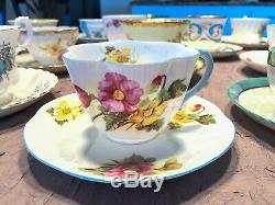 Teacups and Saucers Lot-16 Sets Mismatched Wedding Shower High Tea Party Lot 12A