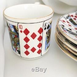 Tiffany & Co Elizabethan Bone China Porcelain Playing Cards Mugs Cups Saucers