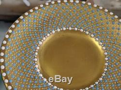 Unique porcelain jewelled cup & saucer painted panel by Ken Russell ex worcester