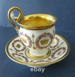 Vieux Paris French Porcelain 19th Century Cup & Saucer Empire Style