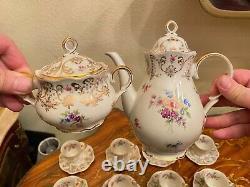 Vintage 12 Cups 12 Saucers German Bavaria Zeh Scherzer Porcelain Coffee Set