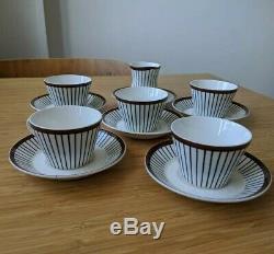 Vintage 12 pcs Gustavsberg SPISA RIBB Stig Lindberg Cups & Saucers +Milk Jug