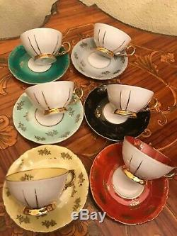 Vintage 6 cups 6 Saucer German Roschütz Roschutz Porcelain Coffee Set