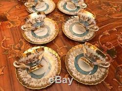 Vintage 6 cups 6 saucers Pot Milk Sugar German PR Bavaria Porcelain Coffee Set