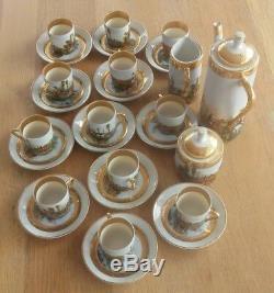 Vintage C P Limoges Porcelain Coffe Set 27Pieces Hunting Scenes Gold Fine France