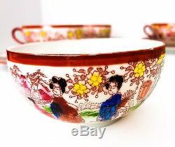 Vintage Japanese Tea Set Geisha Hand Painted Porcelain Cups And Saucers