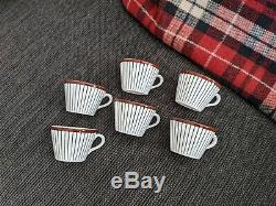 Vintage PAIR Gustavsberg SPISA RIBB Stig Lindberg 2 Cups & 2 Saucers 4 pcs