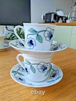 Vintage Pair Rorstrand SYLVIA Leuchovius Coffee Cups Saucers 4 pcs Excellent
