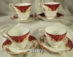 Vintage Paragon Porcelain English Bone China Tea Cups Saucers Rockingham Red Set