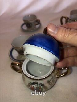 Vintage Porcelain 11 Piece Tea Set. 4 Cups & Saucers Sugar WithLid & Creamer