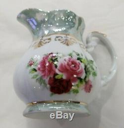 Vintage Porcelain Imperial Tea Set Made Czechoslovakia Gold Trim 14 pcs tea set