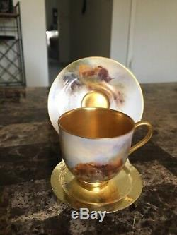 Vintage Royal Worcester Hand Painted Cattle Miniature Cup/Saucer Signed Stinton