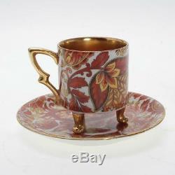 Vintage Set Of 11 Mitterteich Bavaria Porcelain Footed Demitasse Cups & Saucers