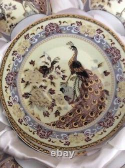Vintage Yamasen Fine Porcelain 24 Gold Collection Japan Peacock 6 Cup/saucer