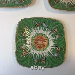 Vtg. Chinese Porcelain Cabbage Leaf & Butterflies Demitasse Cups & Saucers S/3