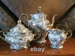 Walbrzych 15 Pc Porcelain Demitasse Tea Set Poland Pot Cups Saucers Marbled Gold