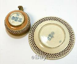 Zsolnay Hungary Porcelain Double Walled Reticulated Overlay Cup & Saucer, 1878
